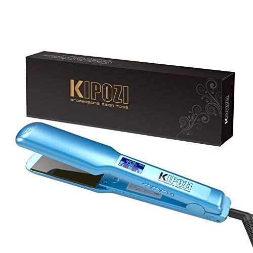 KIPOZI Pro Nano Titanium Flat Iron Hair Straightener with Digital LCD Display, Instant Heat Up, High Heat 450 Degrees,Dual Voltage, 1.75