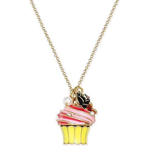 - Betsey Johnson xox Trolls Gold-Tone Cupcake Pendant, Pink & Yellow