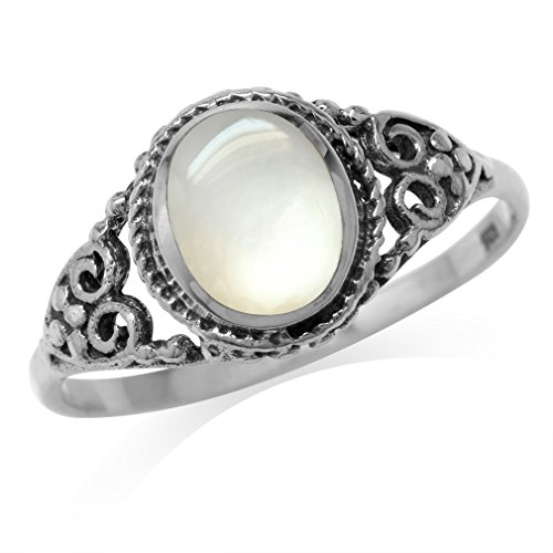 White Mother Of Pearl Inlay 925 Sterling Silver Filigree Victorian Style Ring Size 9.5
