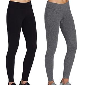 iLoveSIA 2Pack Women's Tights Yoga Running Workout Leggings Pants US Size XL Black+Grey