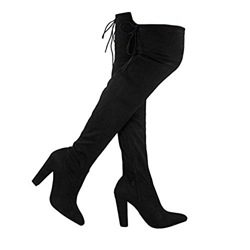 Black Womens Heel Knee Block High Stretch Size Boots Over 3 Suede Thigh The Ladies Sexy r4tHwtYq
