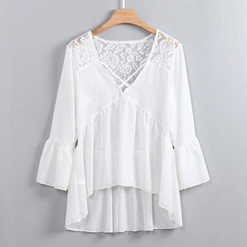 V en Encolure en Dentelle Top Mousseline Halter de Top en Sexy Blanc Femmes Soie Shirt pour AMUSTER T qCE4w46