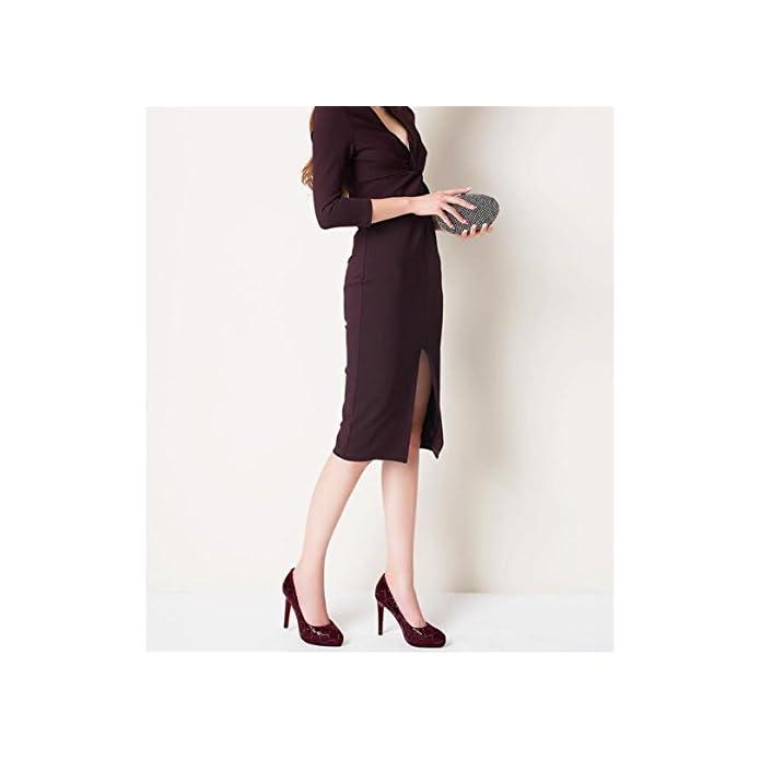 Gaogenx Scarpe Da Donna Scamosciato Tacco A Spillo Paillettes Pompe Vestito Ufficio Lavoro 35 38 Eu37