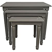 Burnham Home 17320 Macbeth Square Nesting Tables, Large, Medium, & Small, Gray Wash