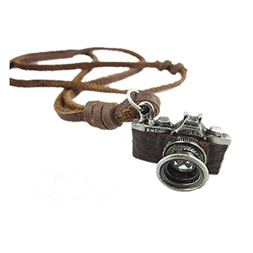 Brown Real Leather and Alloy Camera Pendant Adiustable Necklace Mens Necklace Unisex Necklace - Camera Necklace Pendant
