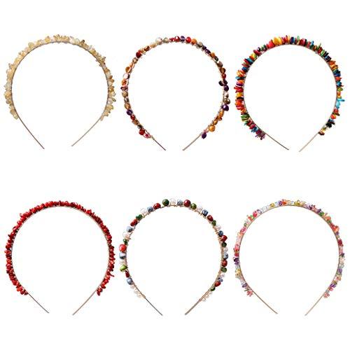 (ballboU- 6 pcs Women Metal Hair Hoop, Irregular Resin Stone Seashell Beaded)