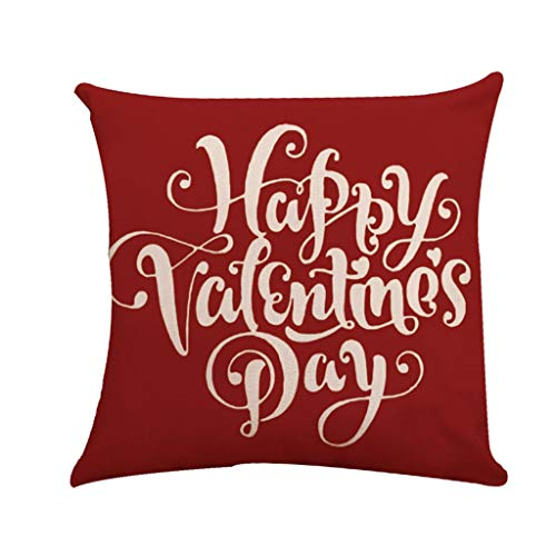 Back Set Upholstery (Cushion Cover Throw Pillowcase Decorative Pillow Covers Painting Love Happy Valentines Pattern Romantic Square Car Sofa Bedroom Office Anniversary Birthday Gift Upholstery Set ( D, 45x45cm))