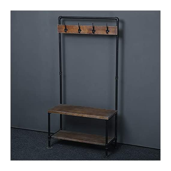 WGX Design For You Industrial Coat Rack Shoe Bench, Hall Tree Entryway Storage Shelf, Solid Wood with Pipe Frame - 【Retro Style】:Industrial style solid wood and pipe 【Multi-functional】:Beautiful and practical .You can use it wherever you want. 【Size】:Total height:63in*31.5in*12.5in - hall-trees, entryway-furniture-decor, entryway-laundry-room - 418jqs6tEzL. SS570  -