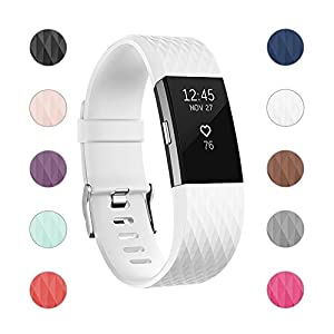 For Fitbit Charge 2 Bands, Adjustable Replacement Bands with Metal Clasp for Fitbit Charge 2 Wristbands Special Edition White Small
