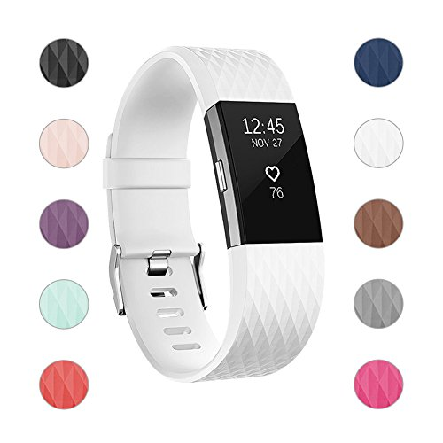 For Fitbit Charge 2 Bands, Adjustable Replacement Bands with Metal Clasp for Fitbit Charge 2 Wristbands Special Edition White Large
