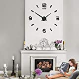 Mintime Modern Frameless DIY Wall Clock Large 3D Wall Watch Non Ticking for Living Room Bedroom Kitchen (2-years warranty) … (015-BK)