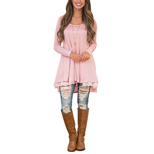 d2a9f66127c Sanifer Women's Lace Long Sleeve Tunic Tops With Pockets Long Tunic Shirts  For Leggings