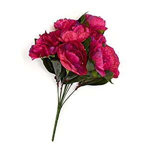 Factory Direct Craft Fuchsia Poly Silk Peony Floral Bush | for Indoor Decor 53