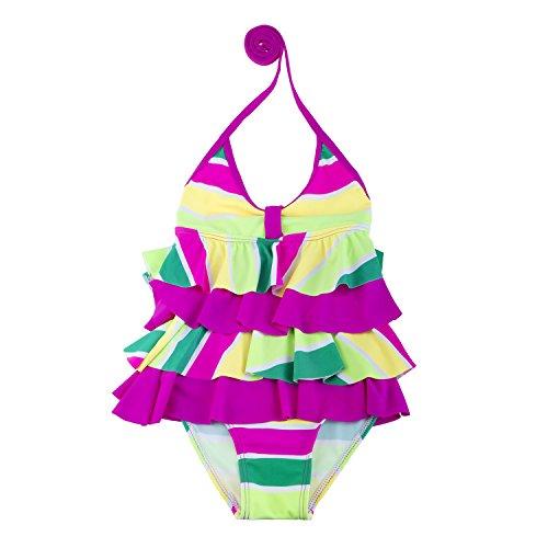 Bala Bala Girls' Rainbow Wave Adjustable Halter One Piece Swimsuit Pink L
