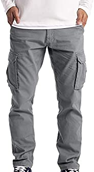 Mens Cargo Pants Cotton Stretch Ripstop Outdoor Casual Hiking Tactical Military Work Pants with Pockets