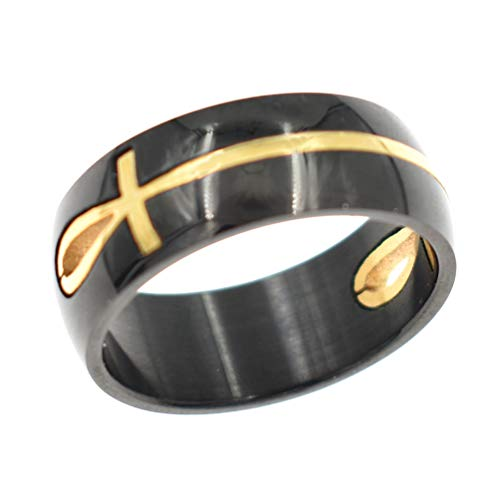 Ring Faith Mens (lychee Egyptian Cross Rings Stianless Steel Faith Awareness Ring Demon Protection Ghost Hunter)