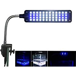 Mingdak Aquarium Light for Fish Tanks Clip on Fish Tank Light 48 LEDs White & Blue