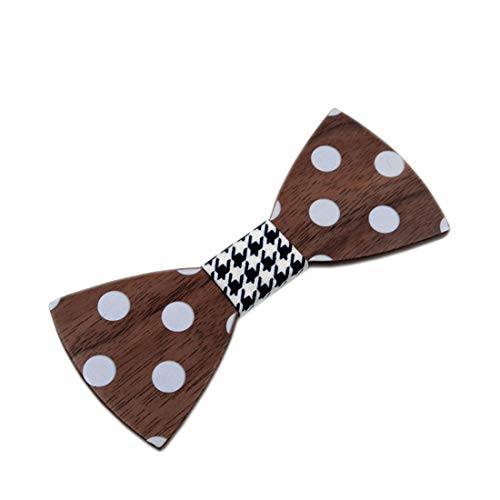 KERVINJESSIE Vintage Printing Handmade Creative Wood Bow Tie with Gift Box Accessory Men