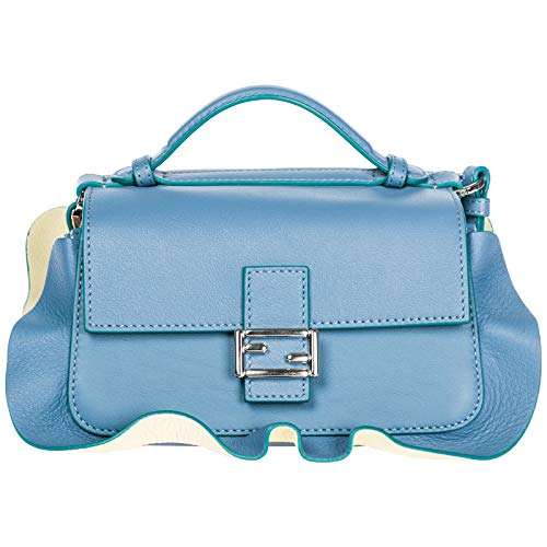 Fendi Women's Fashion Show 'Double Micro Baguette' Multi-Contrast Flutter Trim Bag Eggplant + Blue