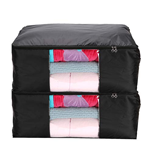 (Youqin Foldable Comforter Storage Bag Organizers, Space Saver for Clothing, Bedding, Toys and Holiday Ornaments (Black 2pcs, L))