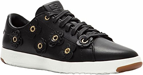 OX Black M Sneaker Leather Women's Leather Grandpro Tennis White Suede Fashion Haan Lace Flower Cole Black YHq4x