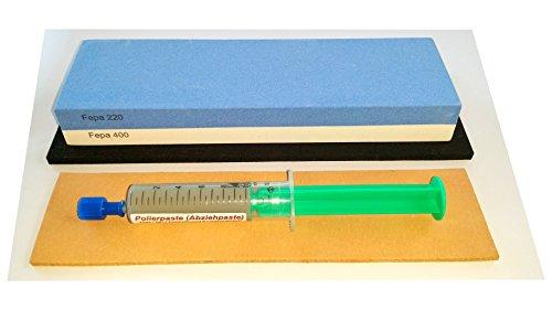 Messer-Schärf-Set, 3-teilig, 6cm breiter!!! Korund FEPA 220/400 + Leder + Polierpaste