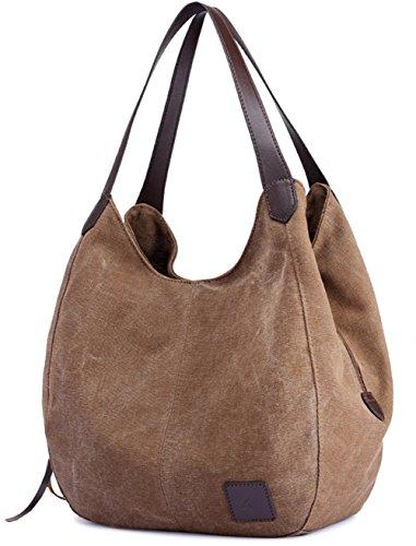 Luckysmile Canvas Hobo Bag Top Handle Tote Handbag Travel Shopping Bag for Women by Luckysmile (Image #1)