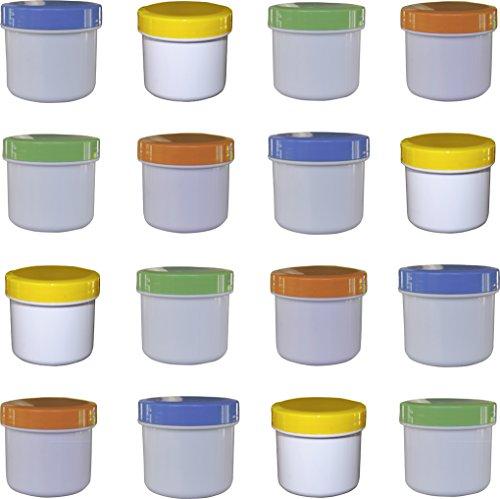 16 Salbendöschen, Cremedöschen, Salbenkruke flach, 25ml Inhalt mit farbigen Deckeln - MADE IN GERMANY