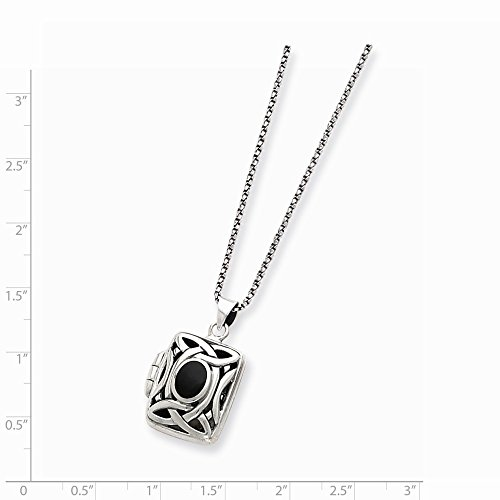 Sterling Silver Onyx & Marcasite Square Locket Chain 1x17mm 18 Inches