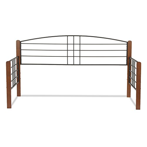 Leggett & Platt Dayton Metal Daybed Frame with Arched Back Panel and Flat Wood Posts, Black Grain Finish, - Finish Daybed Black