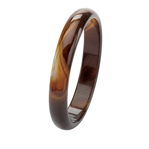 Genuine Brown Agate Bangle Bracelet (13mm), 9 inches