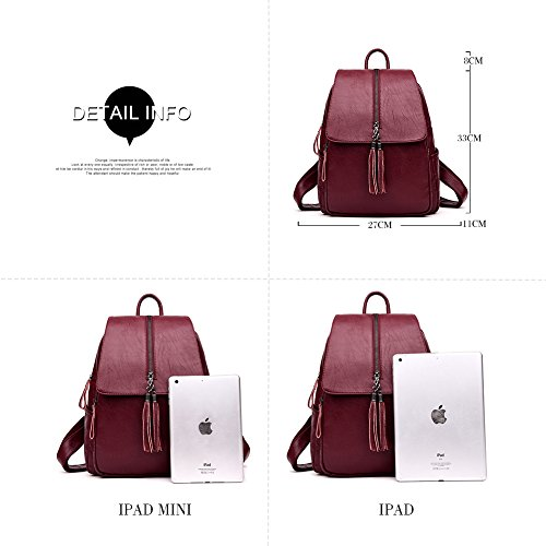Backpack Handbag Bookbag Zipper Washed Casual Yoome Daypack with Tassels Flapover Burgundy Leather Shoulder qREOSF