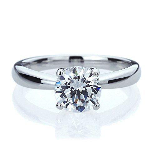 Platinum Plated Sterling Silver 1.5ct Round CZ Classic Solitaire Wedding Engagement Ring ( Size 5 to 9 ), 6
