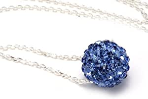""".925 Sterling Silver Blue Crystal Ball Pendant Necklace,18"""""""