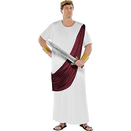 Amscan Adult Augustus Caesar Costume Plus Size, White/Brown -