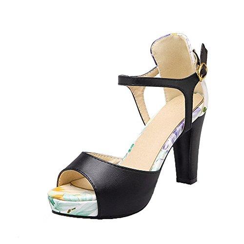 VogueZone009 Women Buckle PU Peep-Toe High-Heels Assorted Color Sandals, CCALP013708 Black