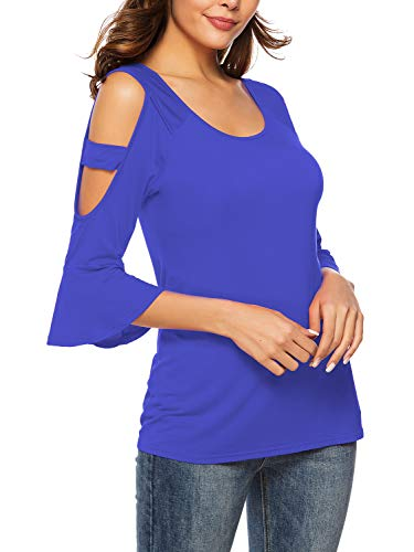 Florboom Womens Loose Round Neck Tshirts Cold Shoulder T Shirts Royal Bule S