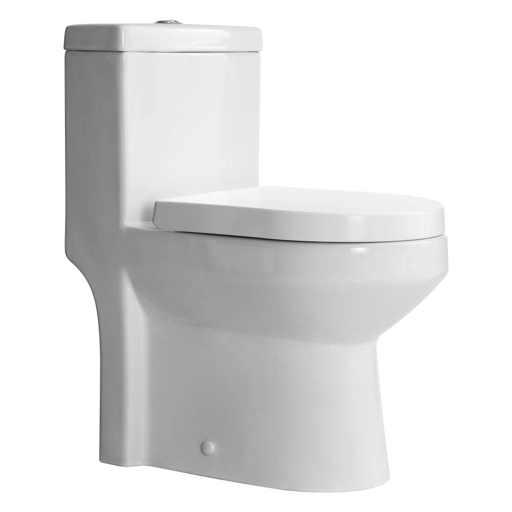HOROW HWMT-8733A Small Toilet 25'' Long x 13.4'' Wide x 28.4'' High One Piece Short Compact Bathroom Tiny Mini Commode Water Closet Dual Flush Concealed Trapway by HOROW