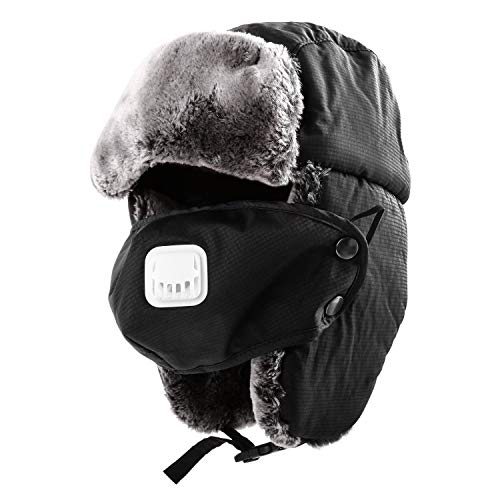 392fd2ebf3191 TWFRIC Trapper Hat – Russian Trooper with Ear Flaps and Mask Hats – Warm  Winter Windproof Waterproof Ski Hat – Fits Men   Women