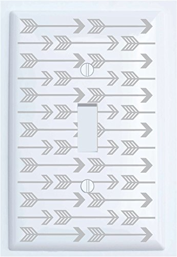 Grey Arrow Print Light Switch Plate and Outlet Covers / Grey Woodland Nursery Decor for Baby Boys or Girls (Single - Woodland Outlet