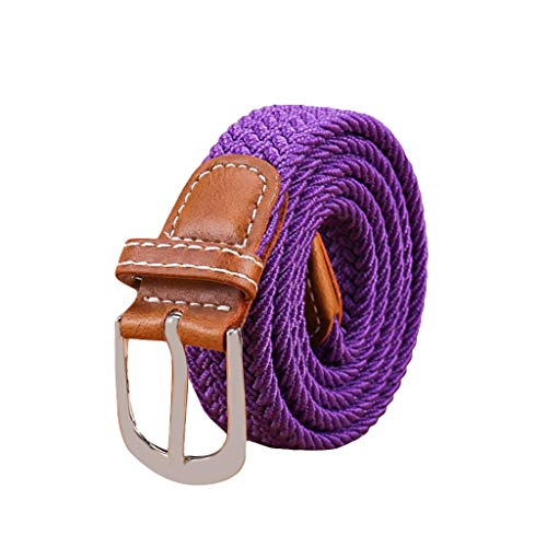 Braided Canvas Belts Unisex Woven Elastic Stretch Fabric Pure Color Belt MultiColor Options