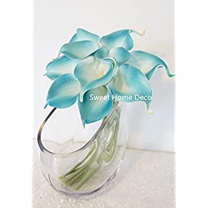 """Sweet Home Deco Latex Real Touch 15"""" Artificial Calla Lily 10 Stems Flower Bouquet for Home/Wedding (Aqua) 2"""