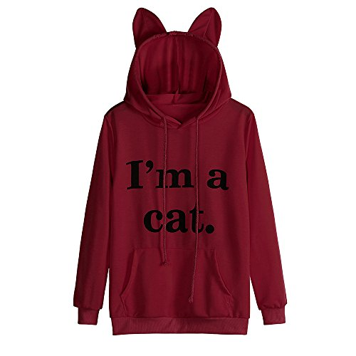 Womens Tops Sale,KIKOY Girls Cat Hooded Long Sleeve
