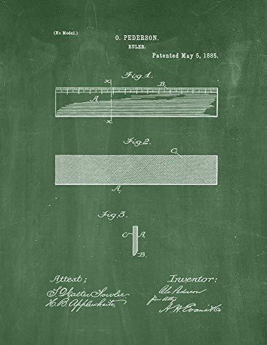 ruler print green chalkboard m13613