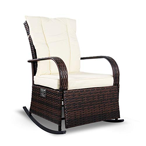 Airous Rocking Wicker Chair Lounge Chair-Auto Adjustable Sofa-with Thick Cushion-for Indoor & Outdoor, Porch, Garden, Backyard or Pool(Beige)