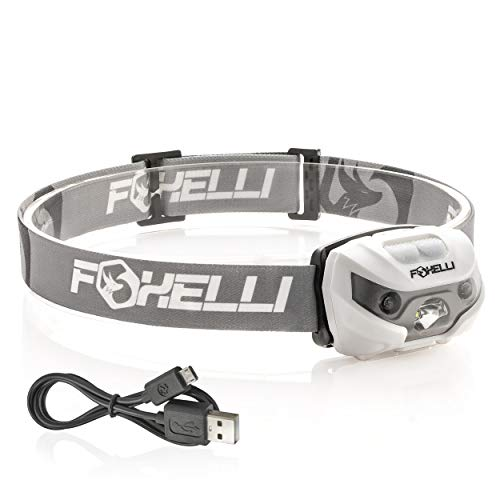 Foxelli USB Rechargeable Headlamp Flashlight - 160 Lumen, up to 30 Hours of Constant Light on a Single Charge, Super Bright White Led + Red Light, Compact, Easy to Use, Headlight for Camping & Running ()