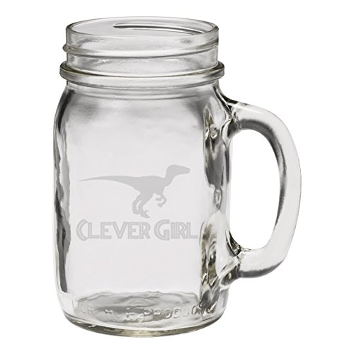 Beautiful Etched Glass - Clever Girl Raptor Dinosaur 12 oz Hand Etched Glass Mason Jar Mug