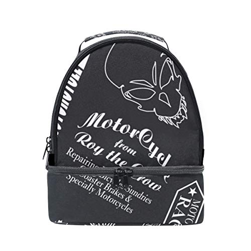 - DEYYA Cute Crow Skull Head Chariot Insulated Lunch Bag Reusable Multifunctional Cooler And Warm Keeping Lunch Box for Adults Men Women Kids
