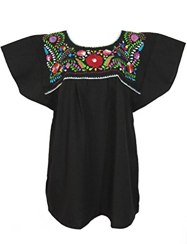 Mexican Embroidered Top (Leos Mexican Imports Mexican Puebla Blouse (Medium, Black))