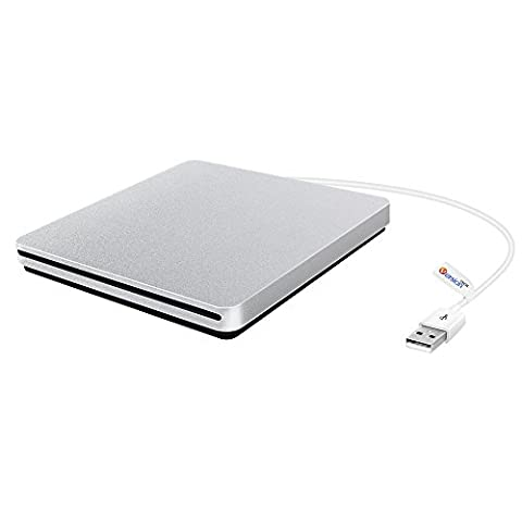 External CD DVD Drive, VersionTech USB Ultra-slim Portable CD DVD RW/ DVD CD ROM Burner/ Writer/ Superdrive with High Speed Data Transfer for Apple Mac Macbook Pro/ Air iMac - Hp Belt Case